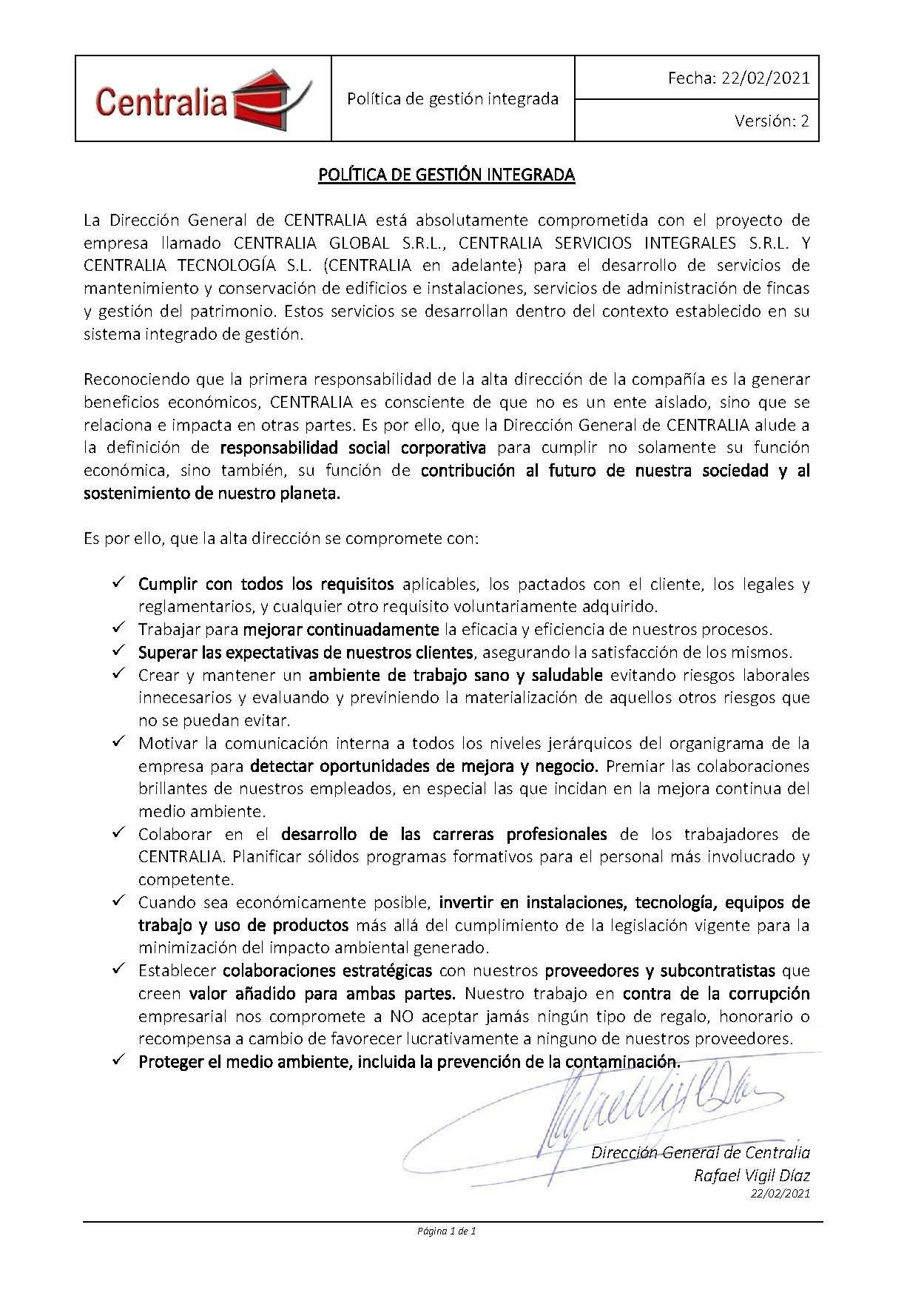 20210222 Política de gestión integrada CENTRALIA